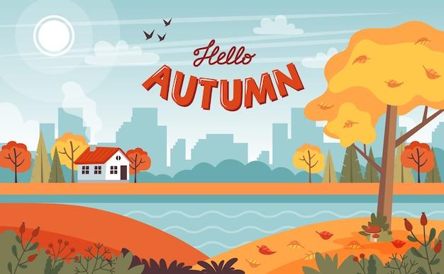 Herbstlandschaft mit niedlichem haus und beschriftung
