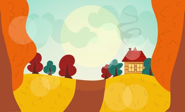 Herbstlandschaft orangerotes und grünes baumhaus mit ofen und rauch
