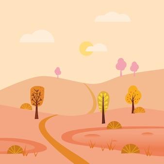 Herbstlandschaft september monat. minimaler trendiger stil