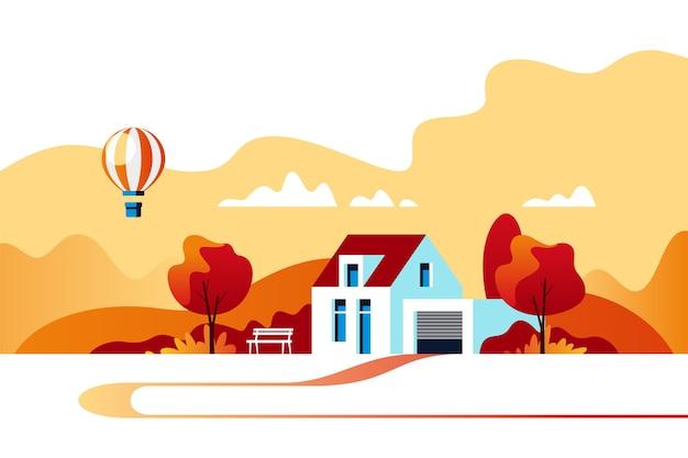 Herbstlandschaft. vorstädtisches traditionelles haus. familienheim. illustration.
