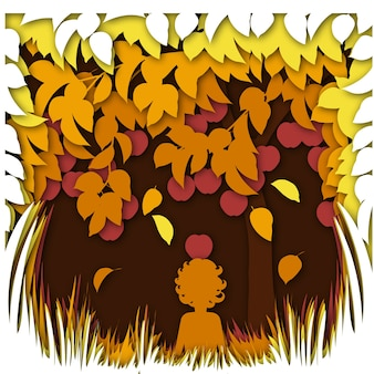 Herbstlandschaftskonzept mit apfelbaum