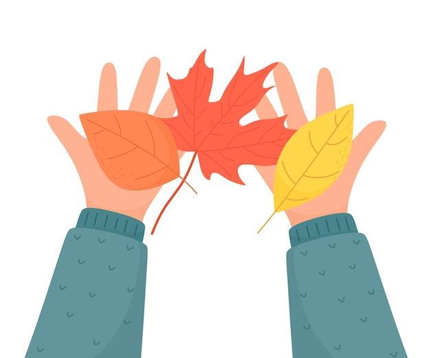 Herbstlaub in den palmen. illustration im flachen karikaturstil.