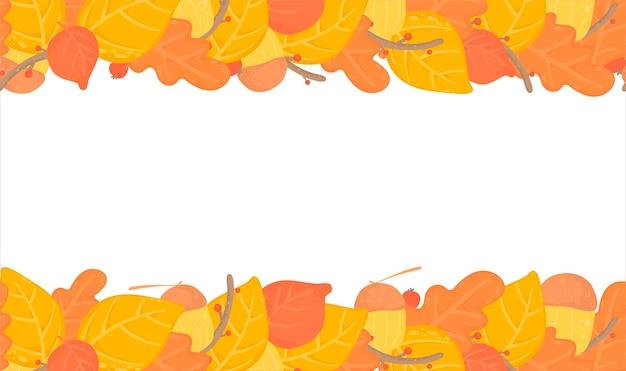 Herbstlaub nahtloser hintergrund, grenze mit gelben herbstblättern, zweigdesign. natur, organische gegenstände. vektor
