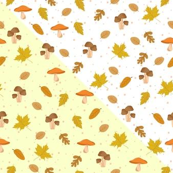 Herbstlaub-nahtloses muster mit pilz