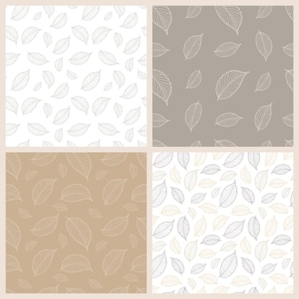 Herbstlaub satz von nahtlosen mustern. konturzeichnung von herbstblättern. stößel-palette. vektor-illustration. geeignet für stoff, geschenkpapier, tapeten usw.