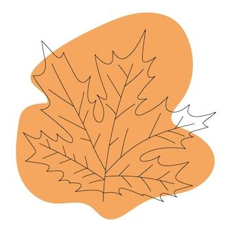 Herbstlaub schwarze strichzeichnung auf farbigem hintergrund isoliertes bild