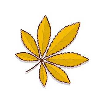 Herbstlaub vektor icon illustration. herbstblatt oder herbstlaub flaches symbol