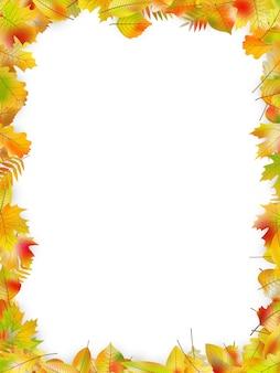 Herbstlaubrahmen lokalisiert auf weiß.