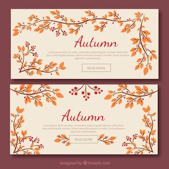 Herbstliche banner mit blättern und zweigen