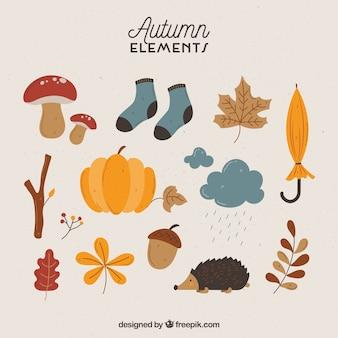 Herbstliche elemente mit lustigem stil