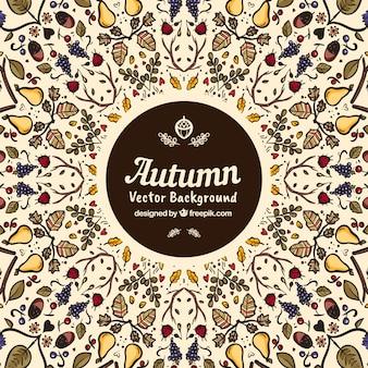 Herbstliche hintergrund mit hand gezeichnetes muster