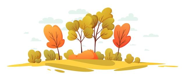 Herbstliche naturlandschaft mit bäumen. schöner landschaftskarikaturhintergrund.