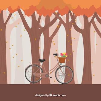 Herbstlichen wald hintergrund mit fahrrad