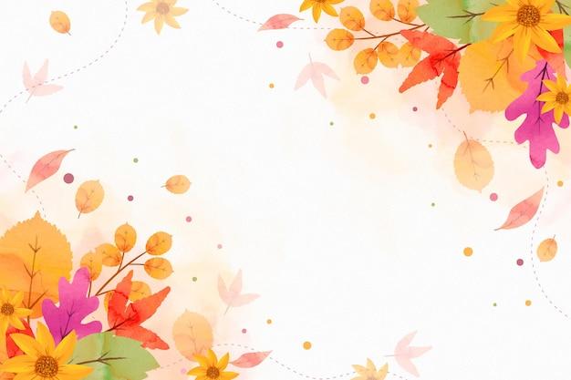 Herbstlicher hintergrund des aquarells mit leerem raum