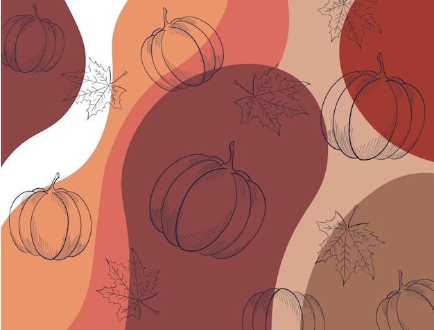 Herbstliches muster mit blattkürbissen und abstrakten wellen