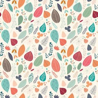 Herbstliches nahtloses muster mit blättern und pflanzen