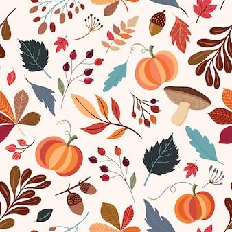 Herbstliches nahtloses muster mit hand gezeichneten dekorativen elementen