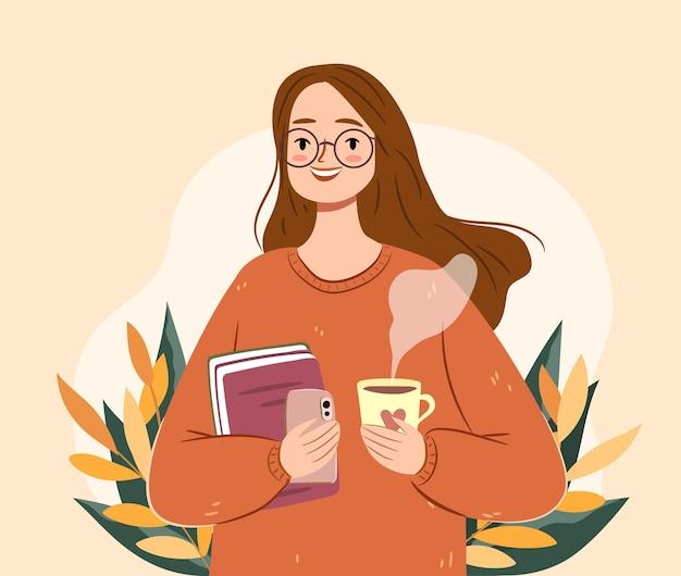 Herbstmädchen mit tee und büchern. isolierte junge frau in einer strickjacke. gemütliche herbstvektorillustration