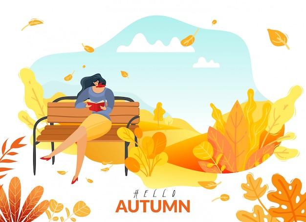 Herbstmenschenplakat. eine frau, die im herbstpark auf einer bank saß, las ein buch