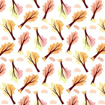 Herbstmuster. abstrakter herbstbaum und -wolke. zierpflanze. cartoon-stil. vektorillustration für design und dekoration.