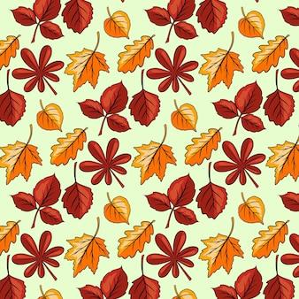 Herbstmuster. herbstlaub großes set. abstrakte geschnitzte blätter. cartoon-stil. vektorillustration für design und dekoration.