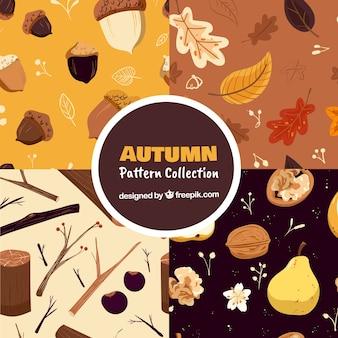 Herbstmusteransammlung mit freiem vektor der elemente