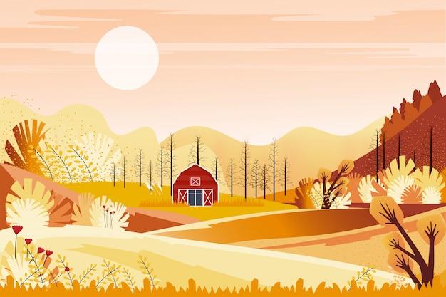 Herbstpanoramalandschaftsbauernhoffeld mit orange himmel