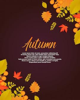 Herbstplakat mit blättern und florenelementen.