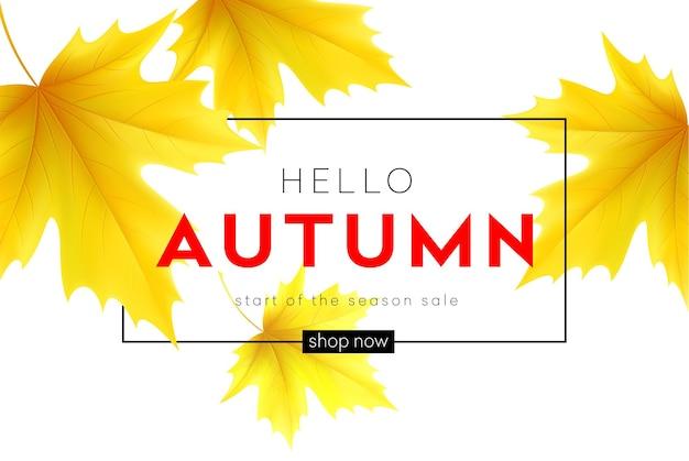 Herbstplakat mit schriftzug und gelben herbstahornblättern. vektorillustration eps10