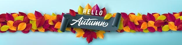 Herbstplakat und fahnenschablone mit buntem ahorn, eichenherbstlaub