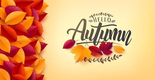 Herbstplakat und fahnenschablone mit bunten herbstblättern auf gelbem hintergrund. grüße und geschenke für die herbstsaison. werbeschablone für herbst- oder herbstkonzept