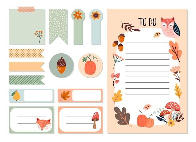 Herbstplaner-aufkleberset und aufgabenliste mit niedlichen saisonalen elementen, handgezeichnetes design