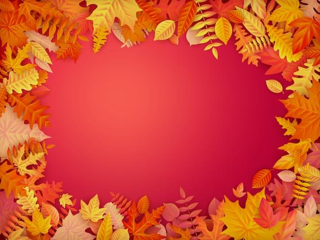 Herbstrahmen aus blättern.