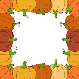 Herbstrahmen mit den kürbissen lokalisiert auf transparentem hintergrund. vektor-illustration.