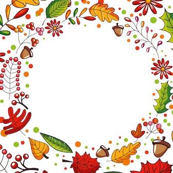 Herbstrahmen mit fall in blätter