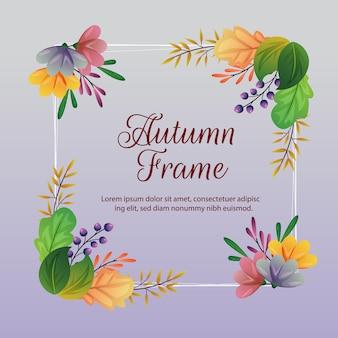 Herbstrahmen und -dekoration mit farbiger blattillustration