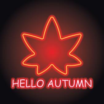 Herbstsaison mit neon-lichteffekt. vektor-illustration