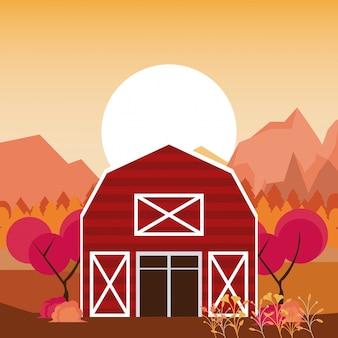 Herbstsaison-naturlandschaftskarikaturen