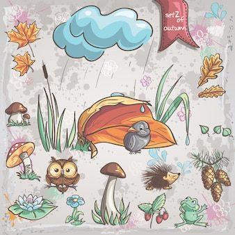 Herbstsammlung mit bildern von vögeln, tieren, pilzen, blumen, zapfen für kinder. set 2.