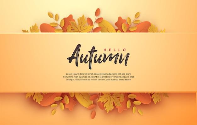 Herbstscherenschnitt mit brettern auf blättern