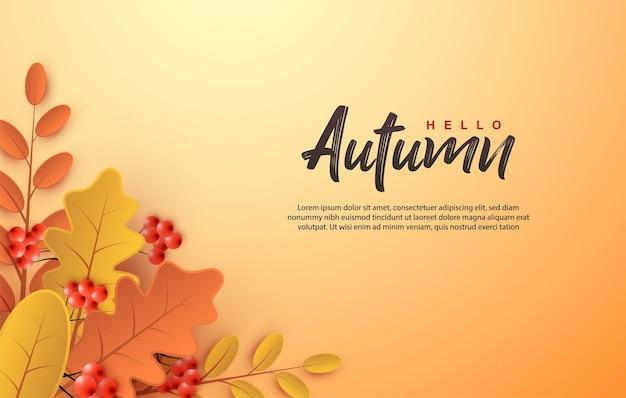 Herbstscherenschnitt mit gestapelten blättern