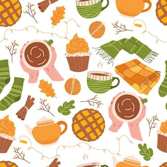 Herbststimmung nahtloses muster mit cupcake teetasse teekanne schal und decke Premium Vektoren