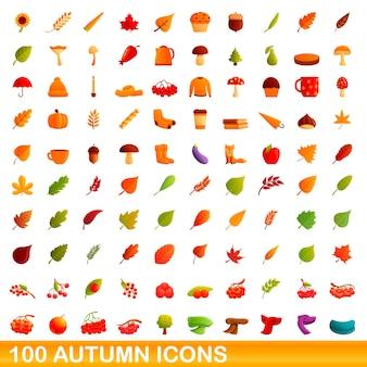 Herbstsymbole gesetzt. karikaturillustration von herbstikonen auf weißem hintergrund eingestellt