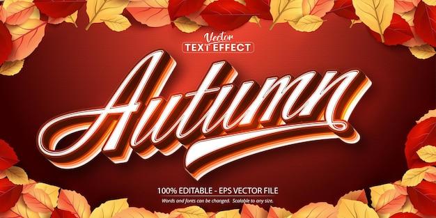 Herbsttext, bearbeitbarer texteffekt im herbststil auf herbstblättern und strukturiertem hintergrund