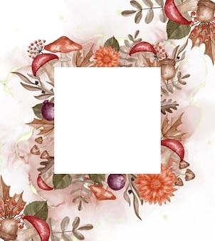 Herbstthemenorientierte aquarellrahmenhintergrundblume, -blätter und -pilz mit weißem raum