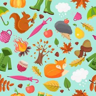 Herbsttiermuster. wald fallen niedlichen fuchsigel und orange eichhörnchen in gelben blättern herbst nahtlosen hintergrund.