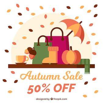 Herbstverkauf backgound mit einkaufstaschen