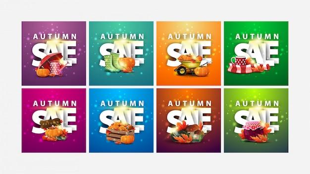Herbstverkauf, große sammlung von quadratischen rabattbannern mit 3d-text und herbstelementen. grüne, orange, lila, blaue und rosa herbstrabattbanner