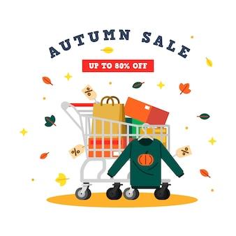 Herbstverkauf in flachem design