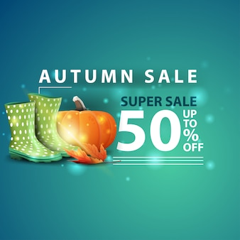 Herbstverkauf, moderne kreative fahne des webs 3d mit gummistiefeln und kürbis
